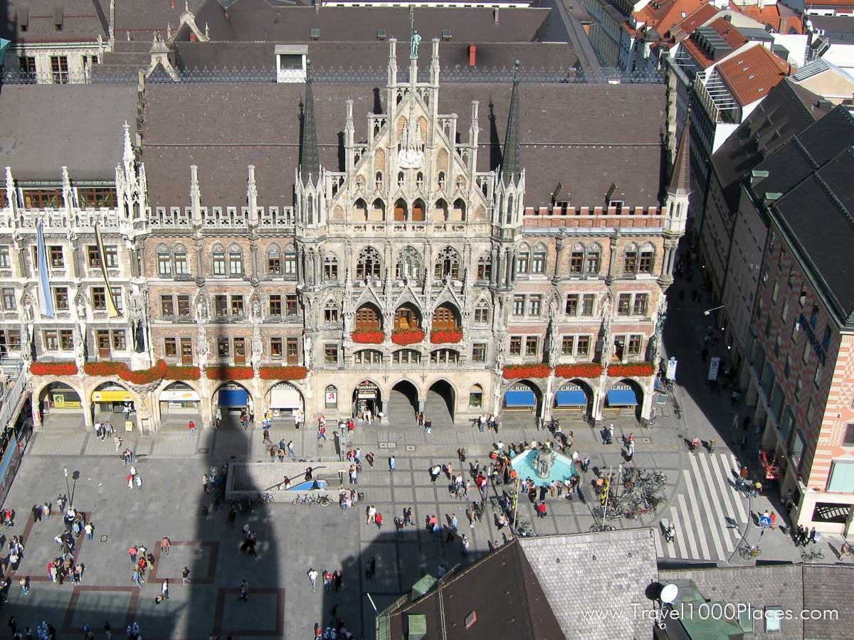 Marienplatz seen from Cafe Glockenspiel, adjacent from the Neues Rathaus.