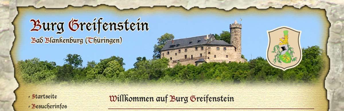 Burg Greifenstein, Germany in Bad Blankenburg, Thuringia (photo: website screenshot burg-greifenstein.de)