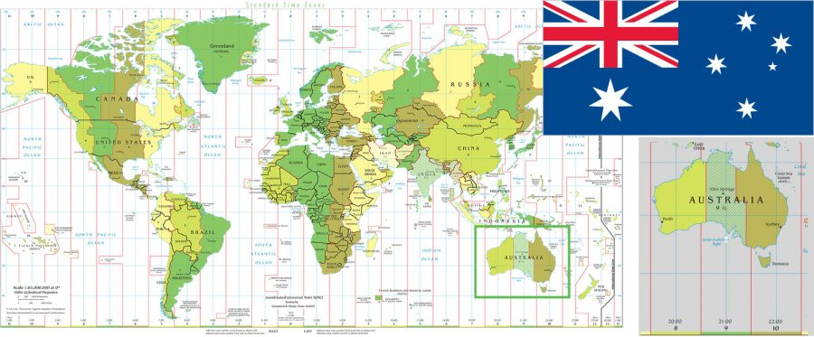 World Time Zones and Australia map