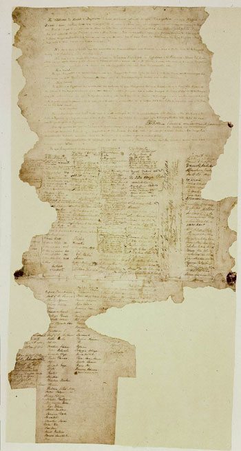 The Treaty of Waitangi is not a single large sheet of paper but a group of nine documents: seven on paper and two on parchment. Together they represent an agreement drawn up between representatives of the Crown on the one hand and representatives of Māori iwi and hapū on the other. The Treaty is named after the place in the Bay of Islands where it was first signed on 6 February 1840, but it was also signed in a number of other locations around the country in the following months. © Archives of New Zealand(photo: courtesy of Archives of New Zealand)