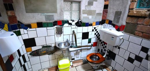 Hundertwasser Toilets Art in Kawakawa, North Island of New Zealand