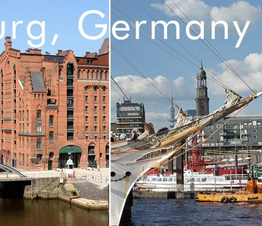 Hamburg Germany (photos: International Maritime Museum (photo by M. Zapf); Landungsbrücken and 'the Michel' / St. Michaelis (photo by Chr. Spahrbier); mediaserver.hamburg.de)