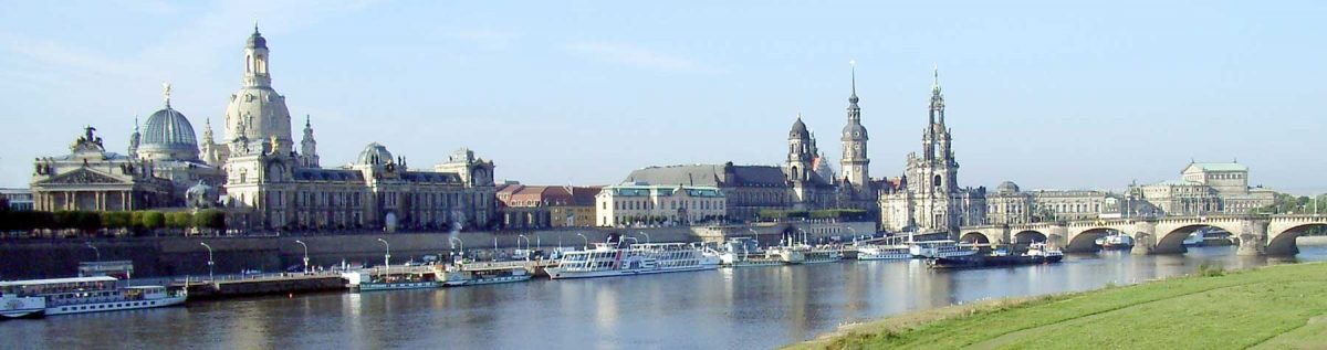 Brühl's Terrace, Dresden (Saxony, Germany), view from Carola Bridge (over the Elbe river) in southwest direction. [credit: DrTorstenHenning [Public domain]]