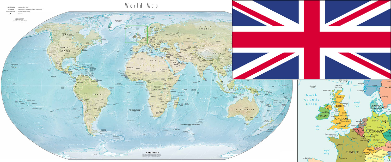 United Kingdom on the world map