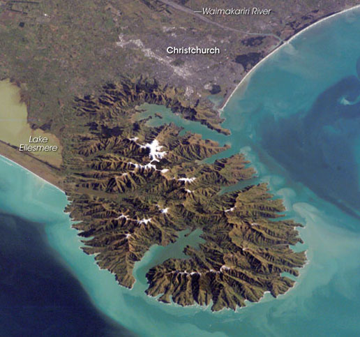 Peaks of the Banks Peninsula to the southeast of Christchurch. Photo taken from the International Space Station.
