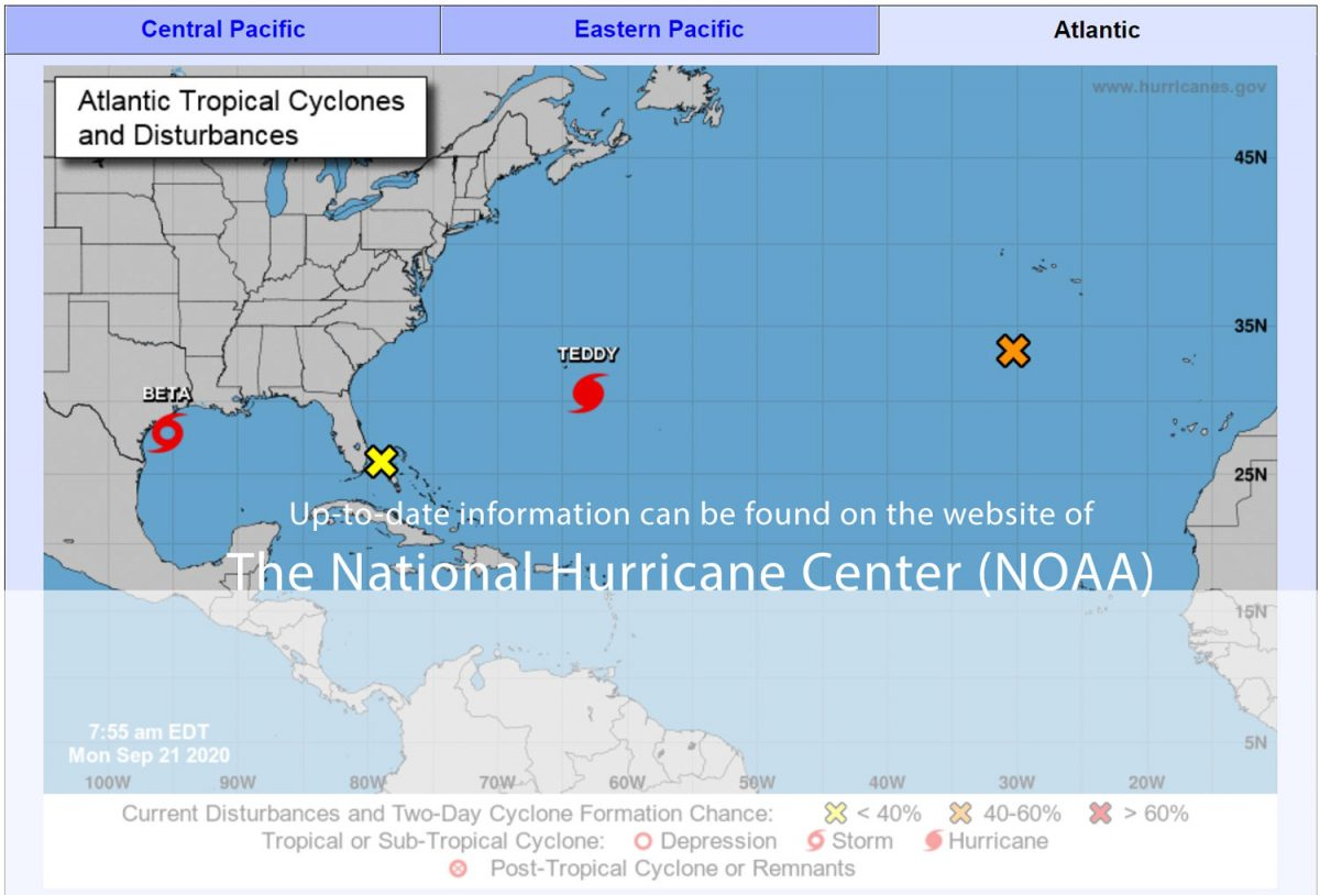National Hurricane Center (NOAA) website with up-to-date-information