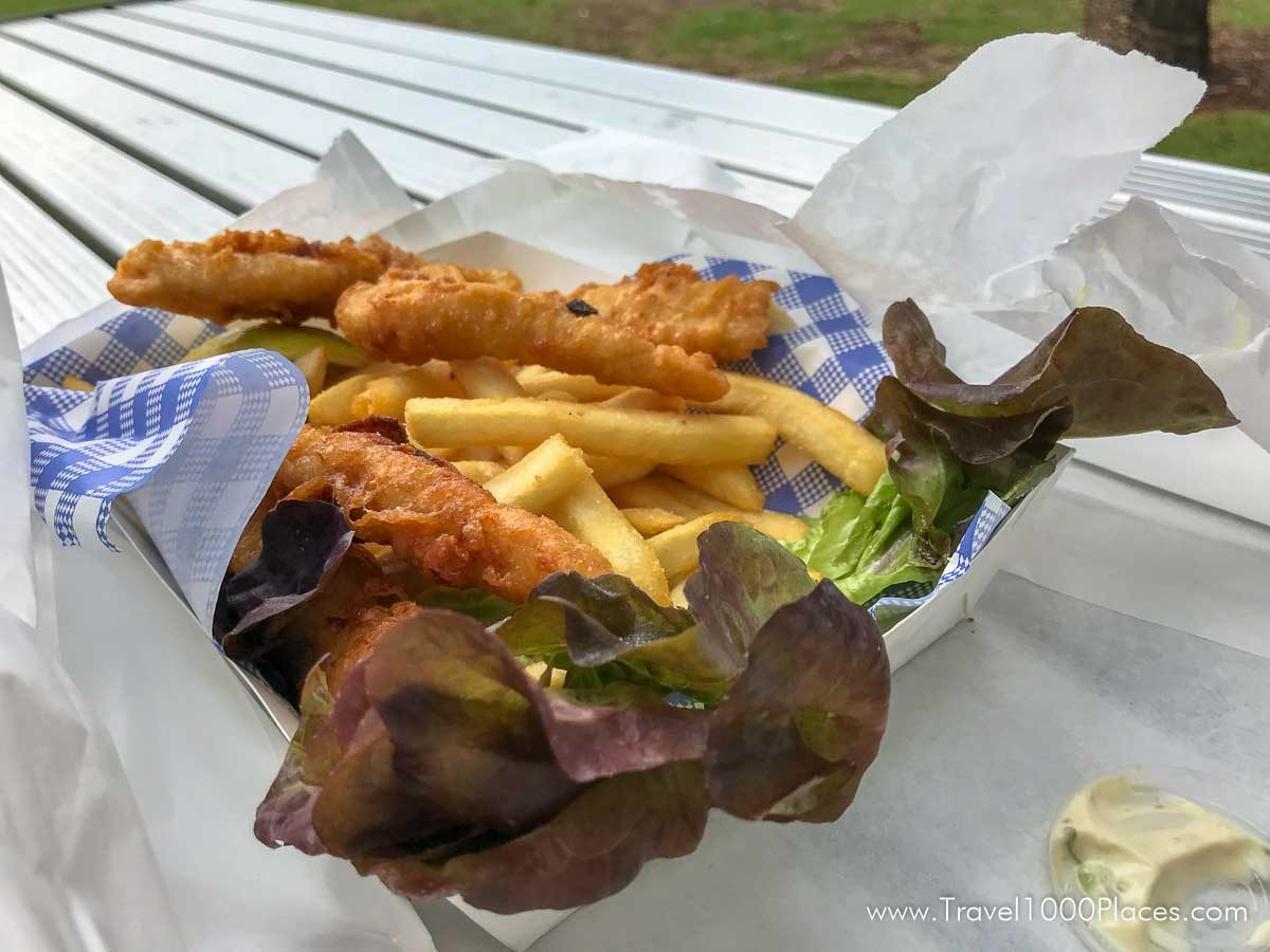 Fish and Chips at Shells Diner in Austinmer, NSW, Australia
