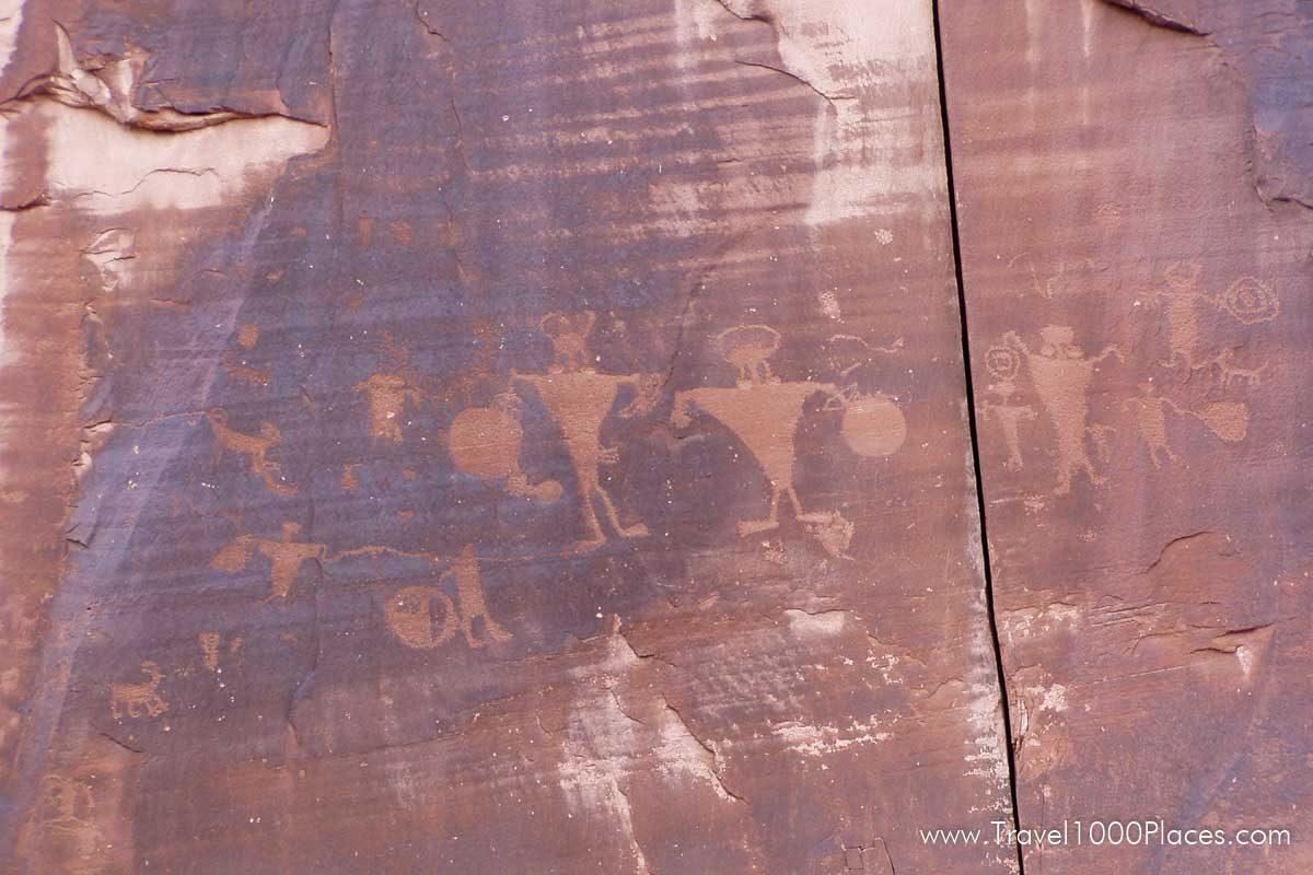Petroglyphs along Potash Road (US 279), near Moab, Utah. The road goes also along the Colorado River