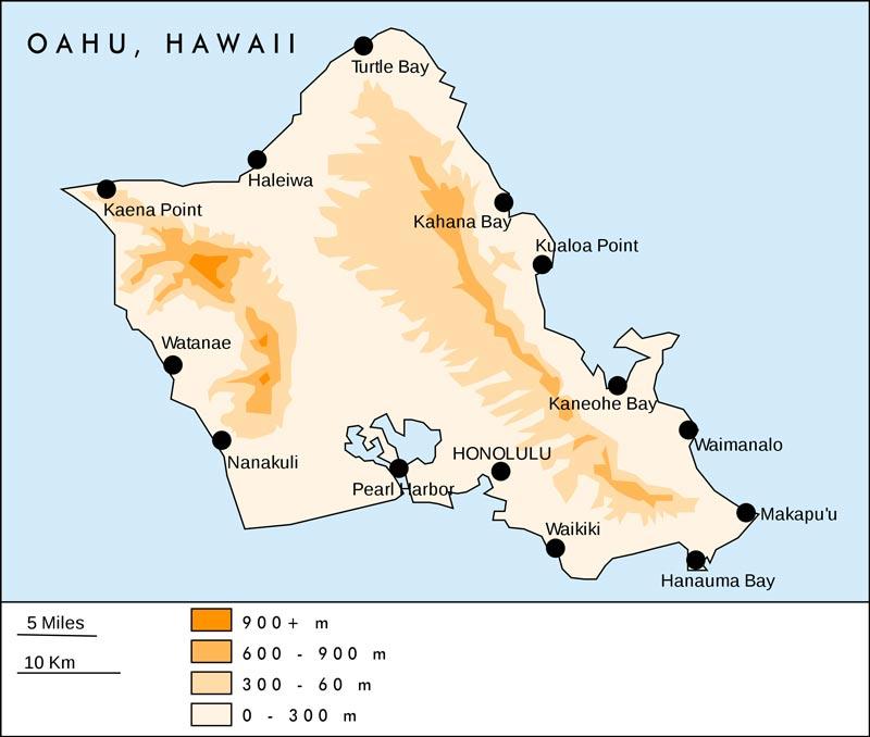 Oahu (Hawaii, USA) Übersichtskarte (adapted as follows: translated, CC BY-SA 3.0, https://commons.wikimedia.org/w/index.php?curid=1261110)