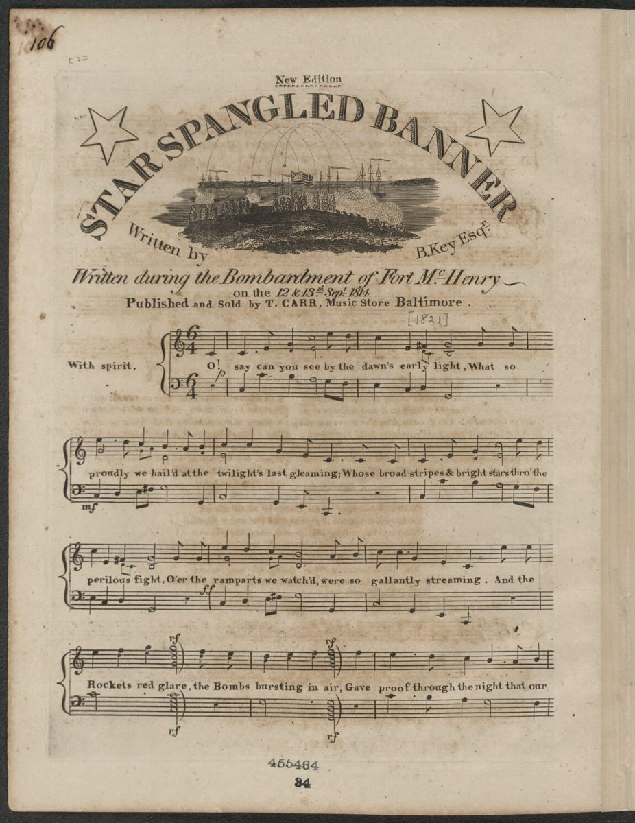 Star Spangled Banner, music sheet [Library of Congress]
