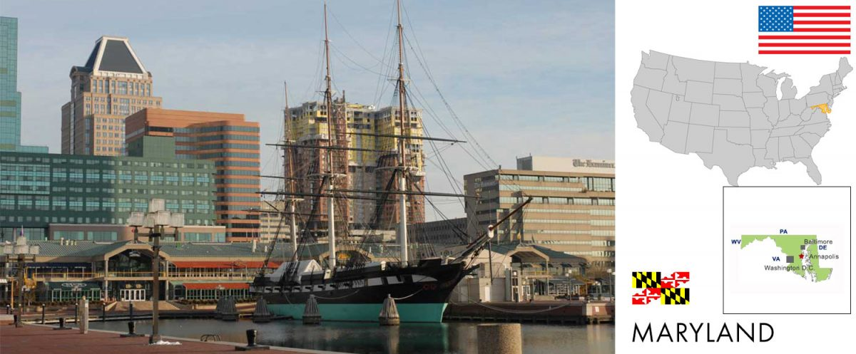 Maryland, USA -- USS Constellation at Inner Harbor, Baltimore, Maryland [graphic/composite: travel1000places.com; photo: Chuck Szmurlo / CC BY-SA (http://creativecommons.org/licenses/by-sa/3.0/)]