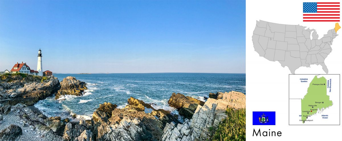Maine, USA -- photo: Portland Head Light, Cape Elizabeth, Maine [graphic/composite: travel1000places.com; photo: Geekidharsh / CC BY-SA (https://creativecommons.org/licenses/by-sa/4.0)]