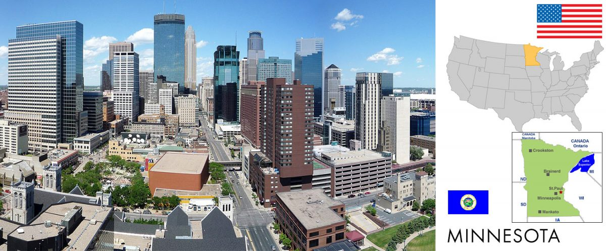 Minneapolis, Minnesota [graphic/composite: travel1000places.com; photo: Bobak Ha'Eri / CC BY (https://creativecommons.org/licenses/by/3.0)]