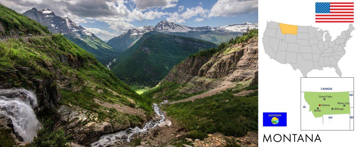Glacier National Park, Montana. Going-to-the-sun Road. [graphic/composite: travel1000places.com; photo: NPS/Tim Rains]