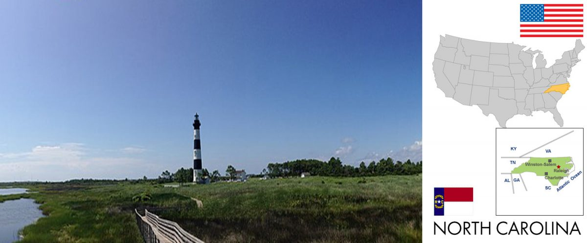 North Carolina, USA -- photo: Bodie Island Light Station, Cape Hatteras, North Carolina [photo: Davidwtucker77 / CC BY-SA (https://creativecommons.org/licenses/by-sa/4.0); graphic/composite: travel1000places.com]