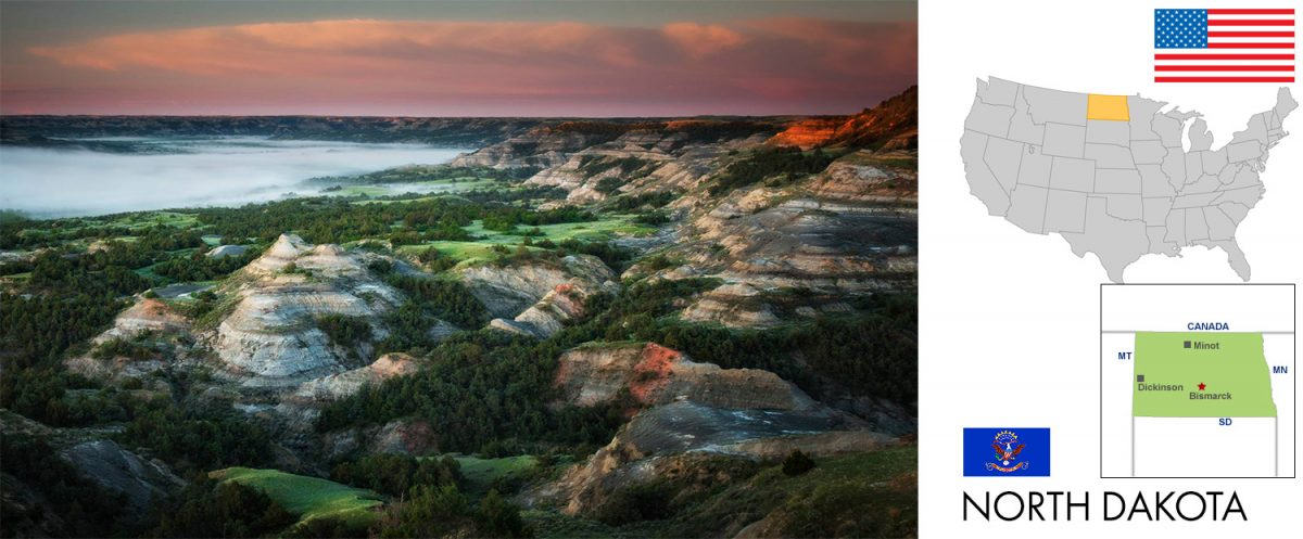 North Dakota, USA -- photo: THEODORE ROOSEVELT NATIONAL PARK, North Dakota, USA --Popping Colors -- Springtime is one of the most colorful seasons to visit the badlands. All of the flowers are in bloom and the grasses are vibrant green. That, combined with gorgeous skies, the barren buttes really pop their colors. [graphic/composite: travel1000places.com; photo: NPS/Kathy Turner]