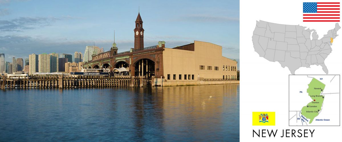 New Jersey, USA -- photo: Hoboken Terminal with Jersey City skyline in the background, as viewed from Pier A Park, Hoboken, New Jersey [graphic/composite:travel1000places.com; photo: King of Hearts / CC BY-SA (https://creativecommons.org/licenses/by-sa/4.0)]. Erie-Lackawanna Railroad Terminal at Hoboken (Hudson River) is in the National Register of Historic Places in the United States.