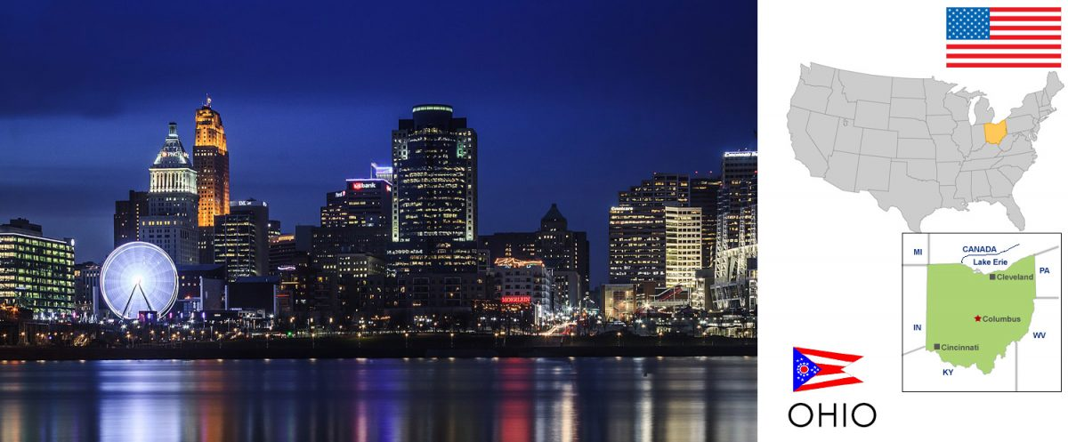 Ohio, USA -- photo: Cincinnati skyline at night. Photo taken from the sidewalk on Riverside Drive near the George Rogers Clark Park in Covington, Kentucky. [graphic/composite: travel1000places.com; photo: Jason Zhang / CC BY-SA (https://creativecommons.org/licenses/by-sa/3.0)]