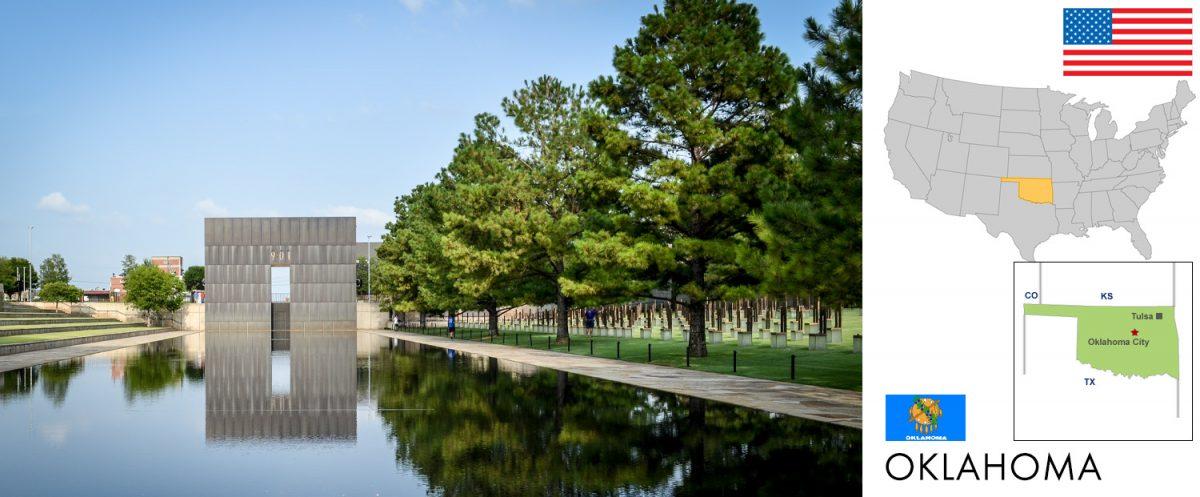 Oklahoma, USA -- Oklahoma City National Memorial [graphic/composite: travel1000places.com; photo: frankschrader.us - all rights reserved]
