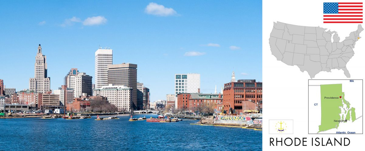 Rhode Island -- photo: Providence Rhode Island skyline in 2017 [graphic/composite: travel1000places.com; photo: Kenneth C. Zirkel / CC BY-SA (https://creativecommons.org/licenses/by-sa/4.0)]