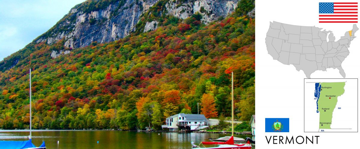 Vermont, USA -- photo: Fall Foliage in Vermont -- photo: Mt Pisgah Flanks the Eastern Side of Lake Willoughby [graphic//composite: travel1000places.com; photo: From the nek / CC BY-SA (https://creativecommons.org/licenses/by-sa/3.0)]