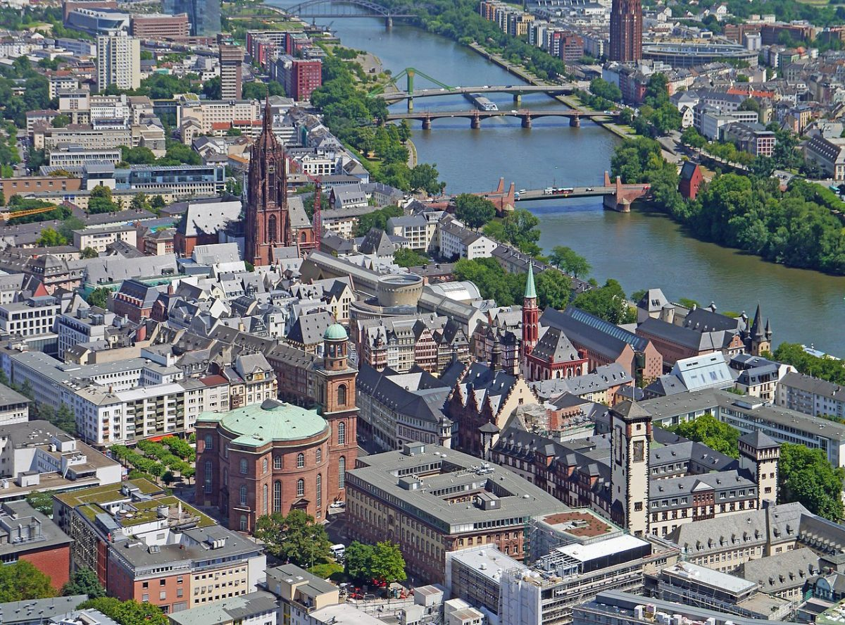 Frankfurt's Old Town and the River Main as seen from Main Tower [photo: Simsalabimbam / CC BY-SA (https://creativecommons.org/licenses/by-sa/4.0)]
