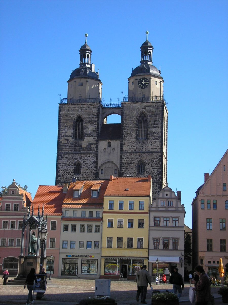 Stadtkirche Wittenberg [photo: Michael Sander, CC BY-SA 3.0 http://creativecommons.org/licenses/by-sa/3.0/ , via Wikimedia Commons]