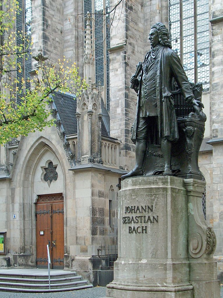 Bach Statue in front of St. Thomaskirche [photo: Zarafa, CC BY-SA 3.0 http://creativecommons.org/licenses/by-sa/3.0/ , via Wikimedia Commons]