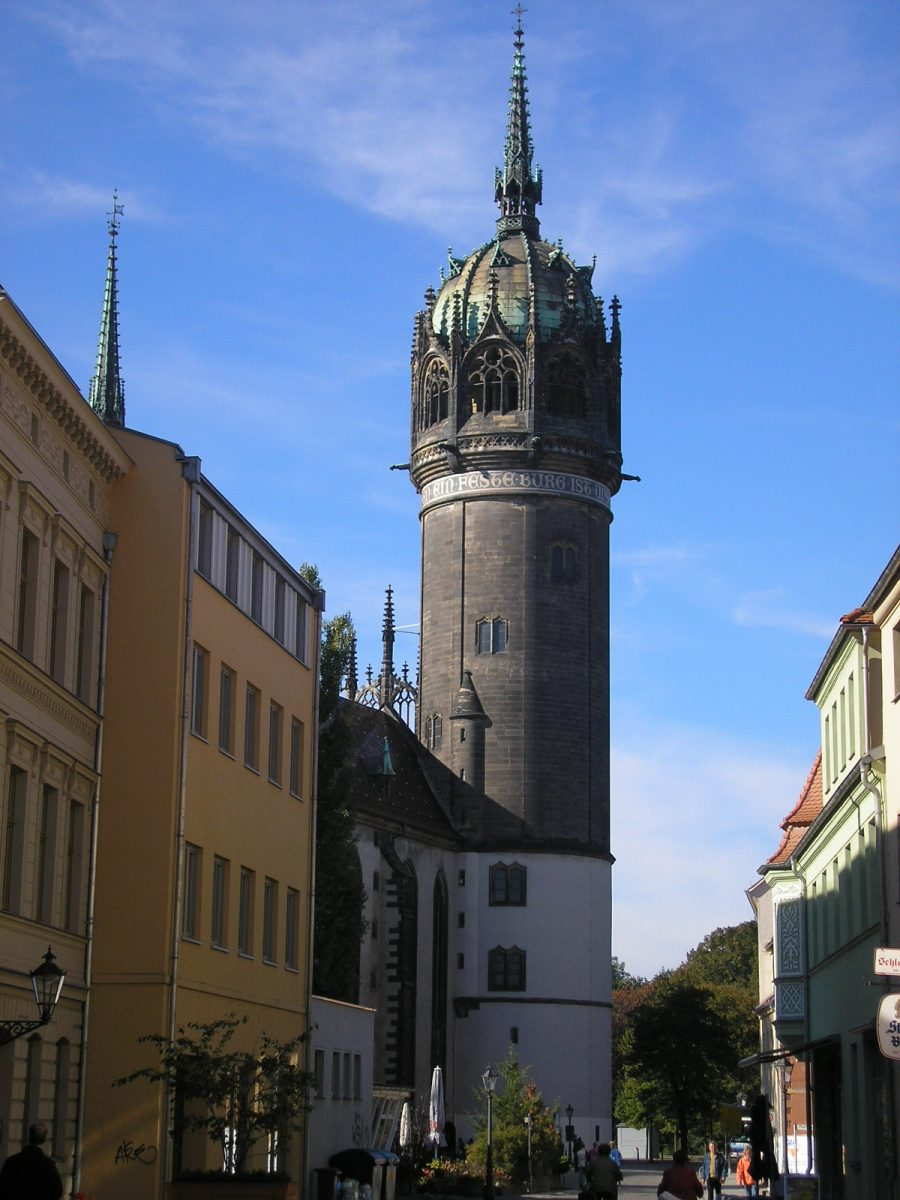Tower of the Schlosskirche in Wittenberg [photo: Michael Sander, CC BY-SA 3.0 http://creativecommons.org/licenses/by-sa/3.0/, via Wikimedia Commons]