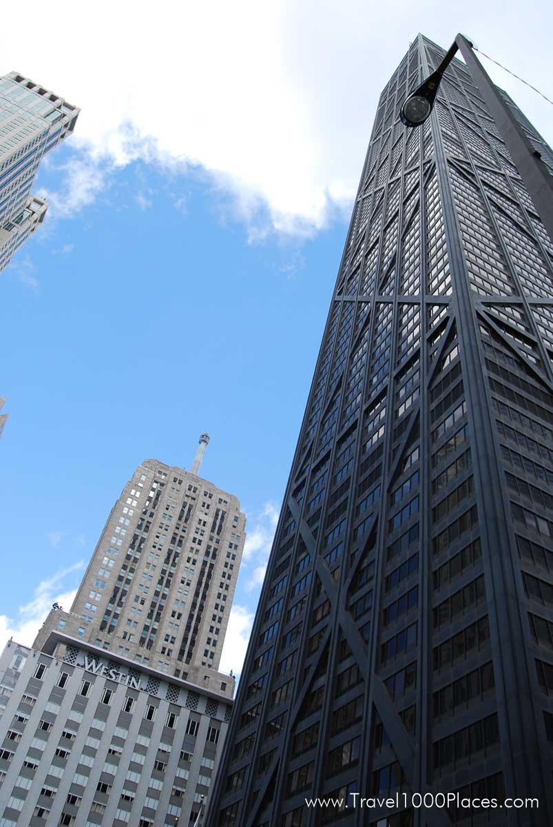 The black tower of the Hancock Center in Chicago