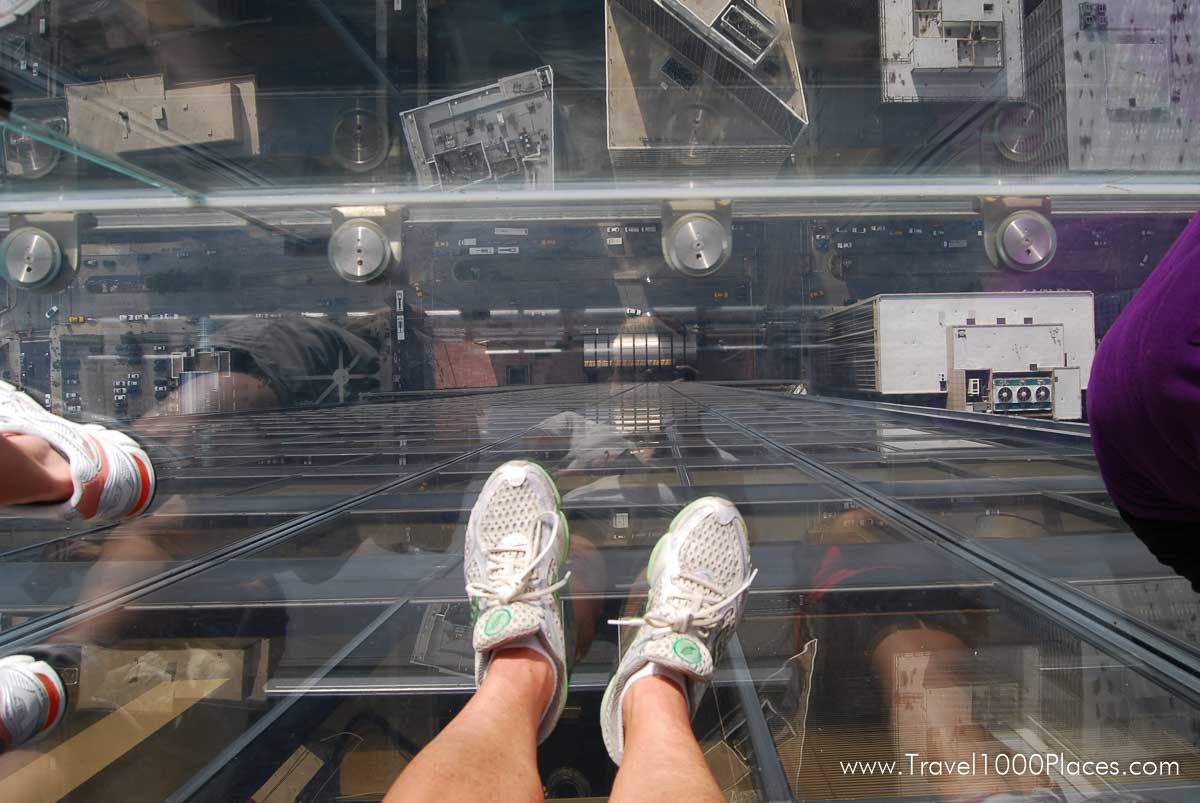 Standing on the glass balcony of the Willis Tower, Chicago