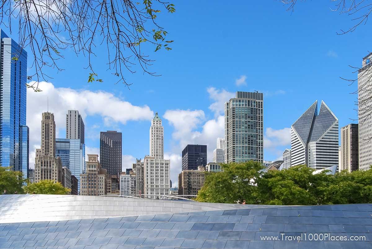 Chicago Skyline as seen from Millennium Park / BP Pedestrian Bridge