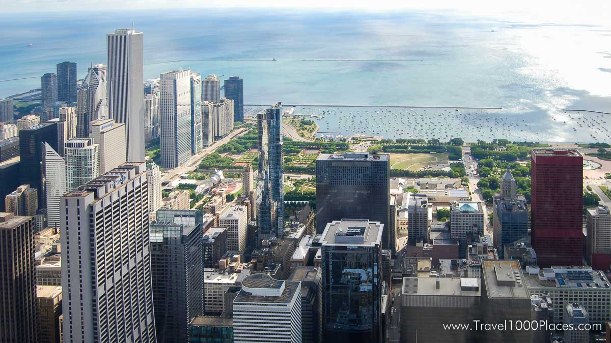 View from Willis Tower Observation Deck towards the Millennium Park