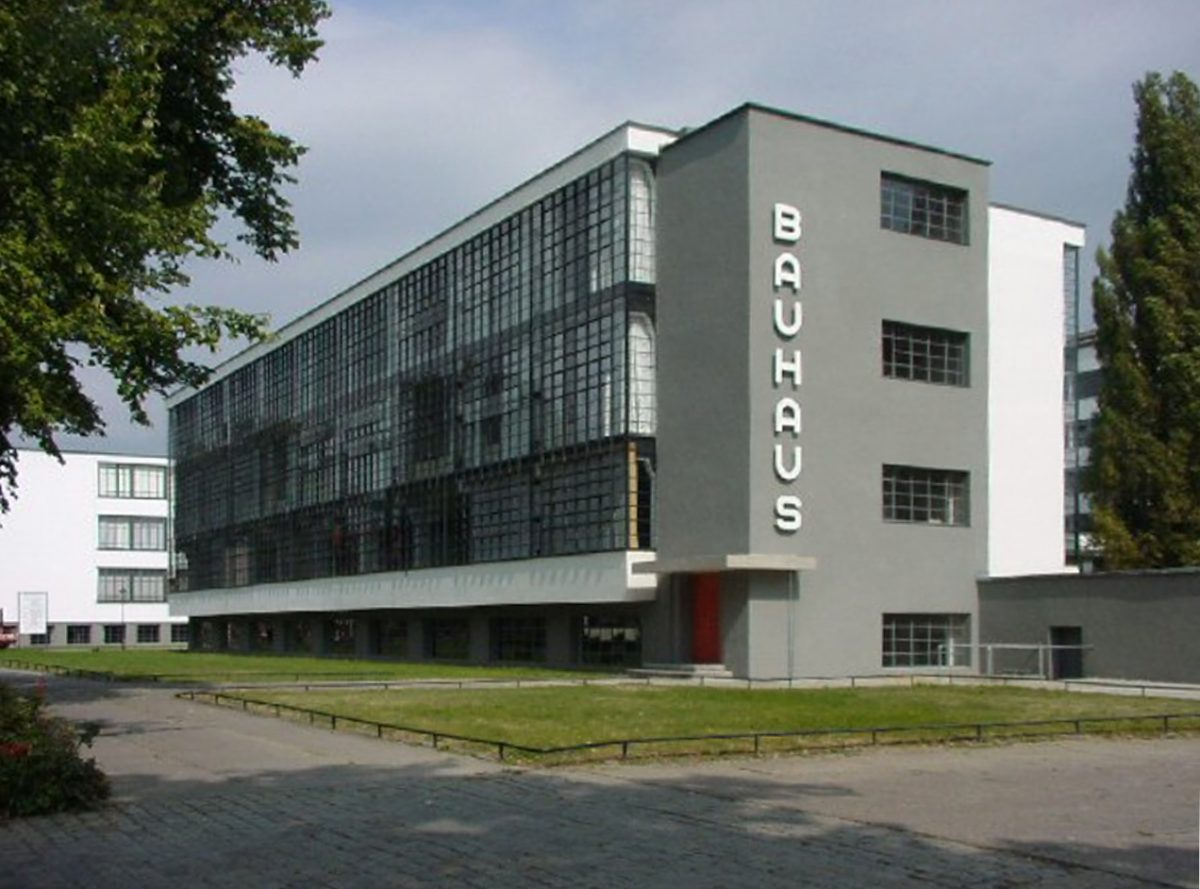 Bauhaus building, designed by Walter Gropius, in Dessau, Germany [photo: Mewes, Public domain, via Wikimedia Commons]