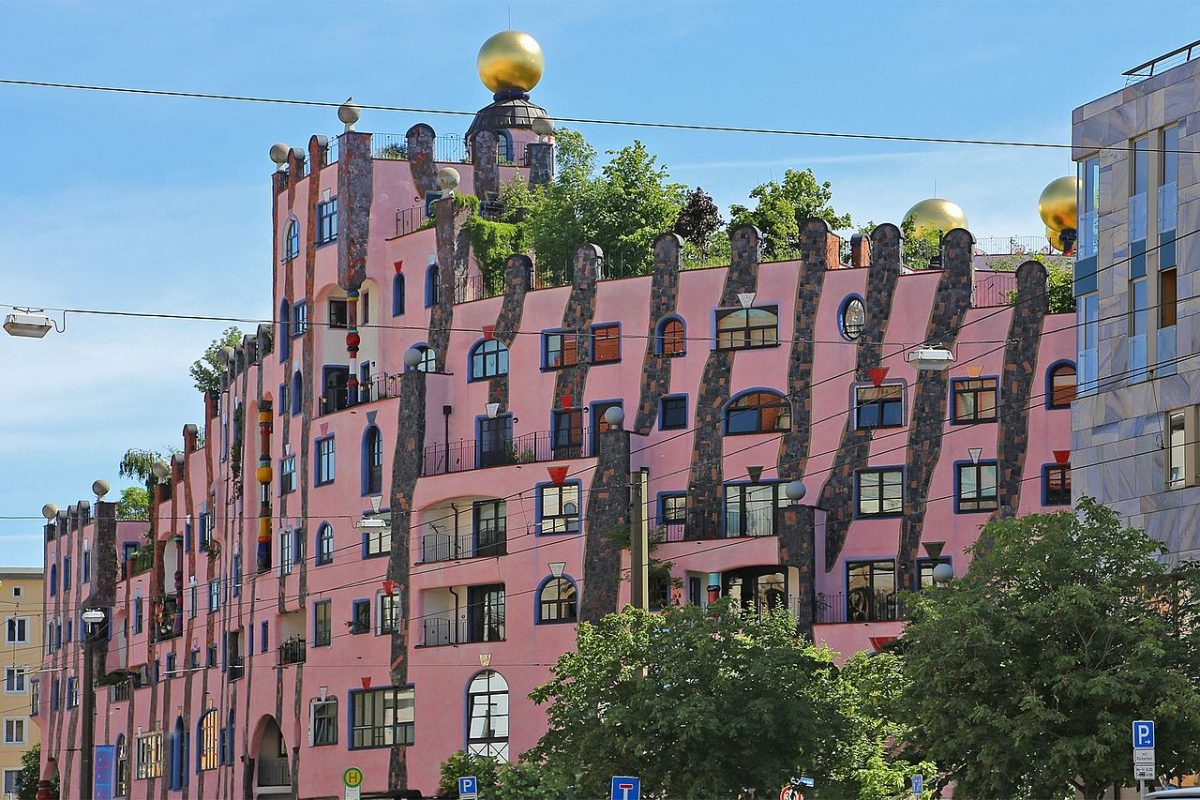 Green citadel (Grüne Zitadelle) of Magdeburg - was designed by Friedensreich Hundertwasser and finished in 2005 [photo: W. Bulach, CC BY-SA 4.0 https://creativecommons.org/licenses/by-sa/4.0, via Wikimedia Commons]