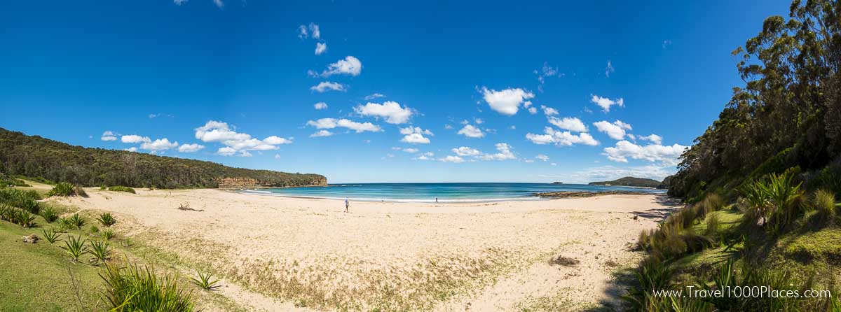 Murramarang National Park (Australia-NSW) near Batemans Bay: Pebbly Beach Panorama
